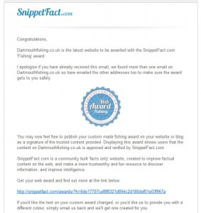 snippetfact award dartmouth fishing