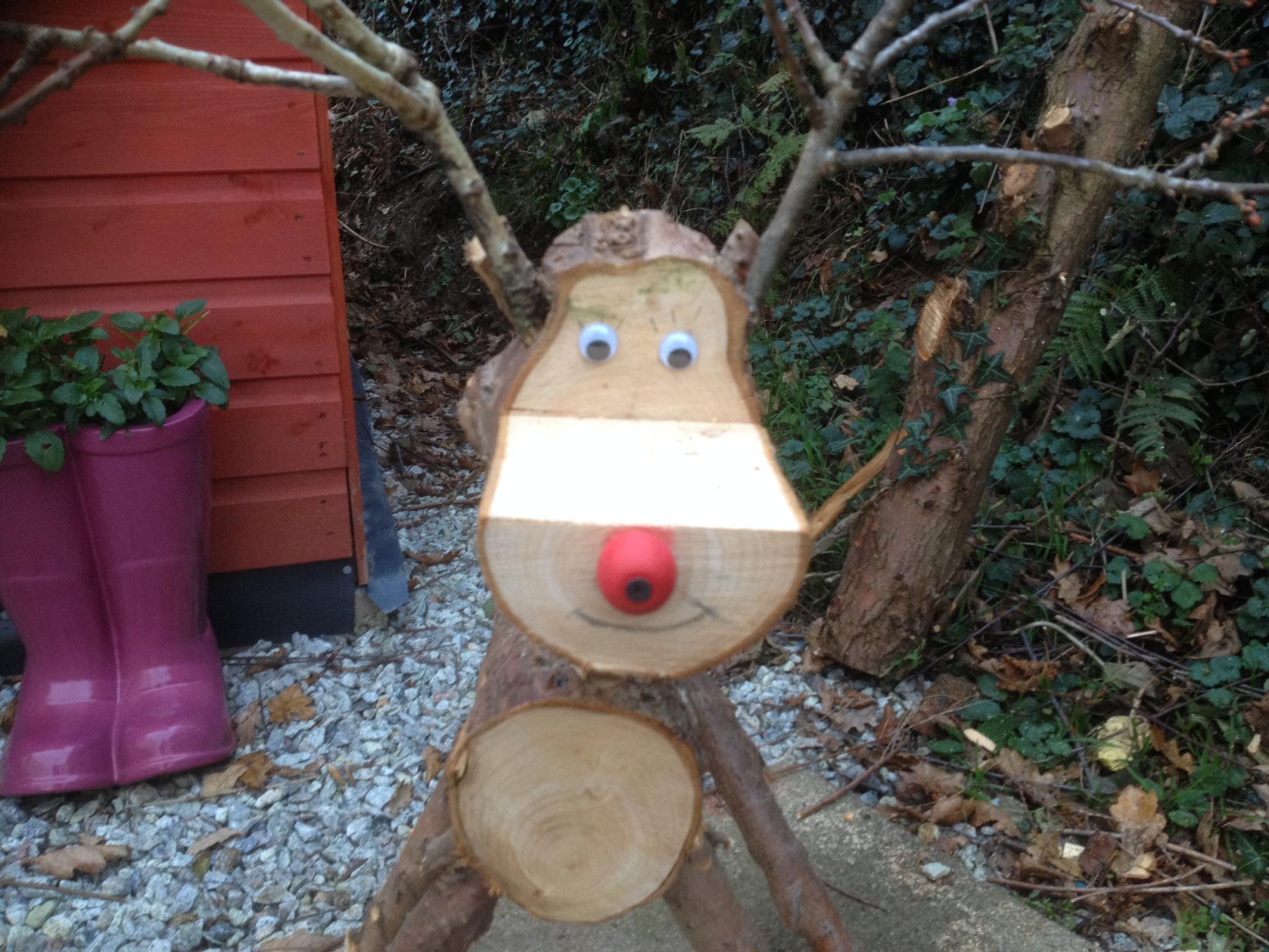 Making A Log Reindeer For Christmas