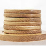 Wood Coasters With Stand In Oak
