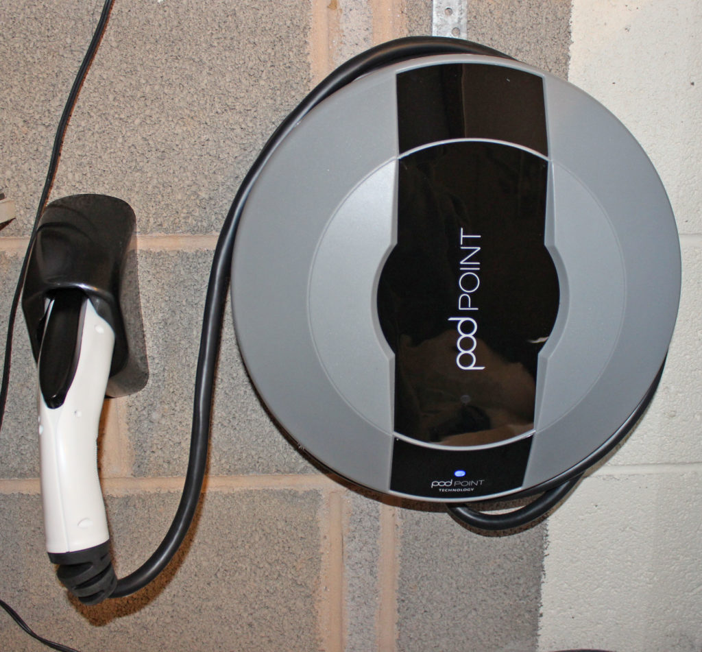 pod point installed in my garage for my nissan leaf
